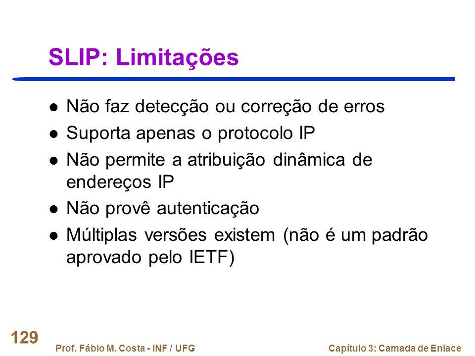 SLIP: Limitações Não faz detecção ou correção de erros