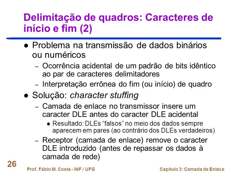 Delimitação de quadros: Caracteres de início e fim (2)