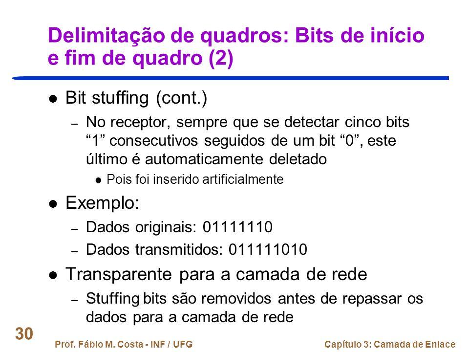 Delimitação de quadros: Bits de início e fim de quadro (2)