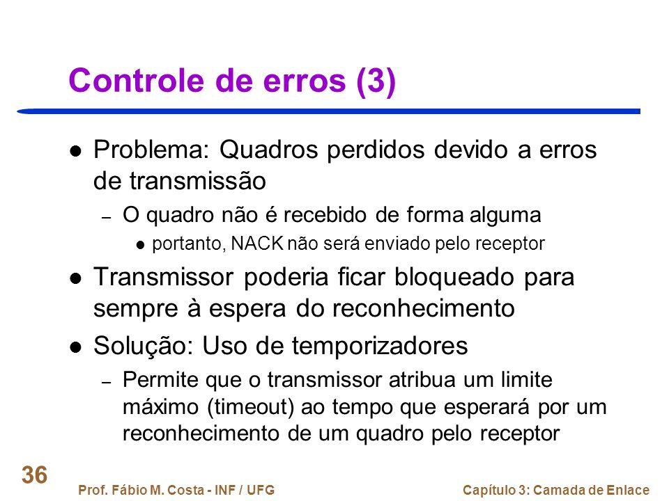 Controle de erros (3) Problema: Quadros perdidos devido a erros de transmissão. O quadro não é recebido de forma alguma.