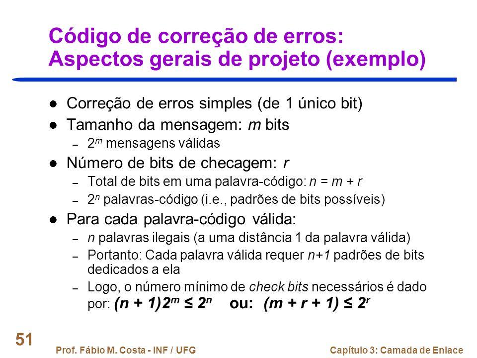 Código de correção de erros: Aspectos gerais de projeto (exemplo)