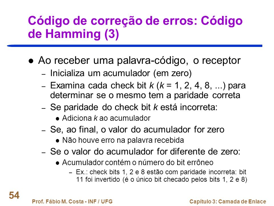 Código de correção de erros: Código de Hamming (3)
