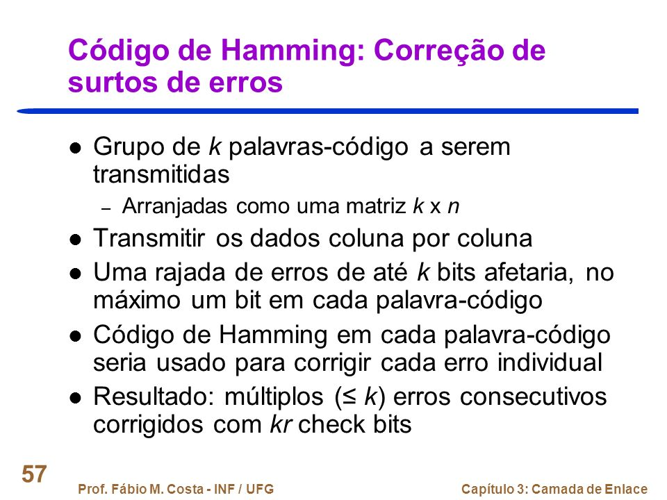 Código de Hamming: Correção de surtos de erros