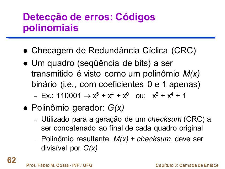 Detecção de erros: Códigos polinomiais