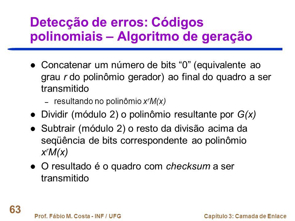Detecção de erros: Códigos polinomiais – Algoritmo de geração