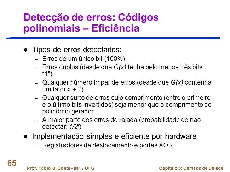 Detecção de erros: Códigos polinomiais – Eficiência