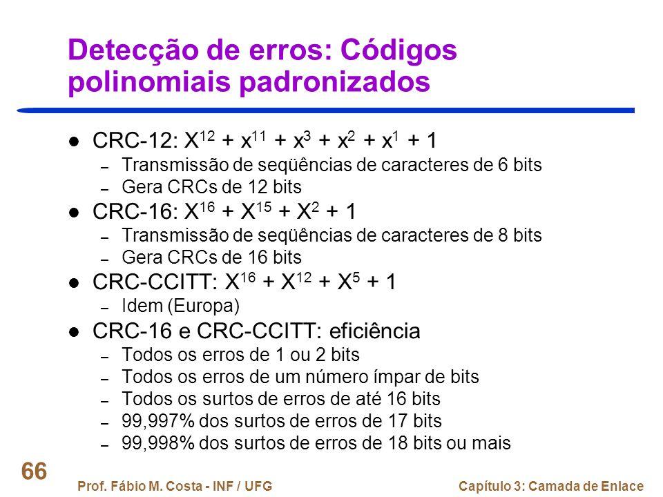 Detecção de erros: Códigos polinomiais padronizados