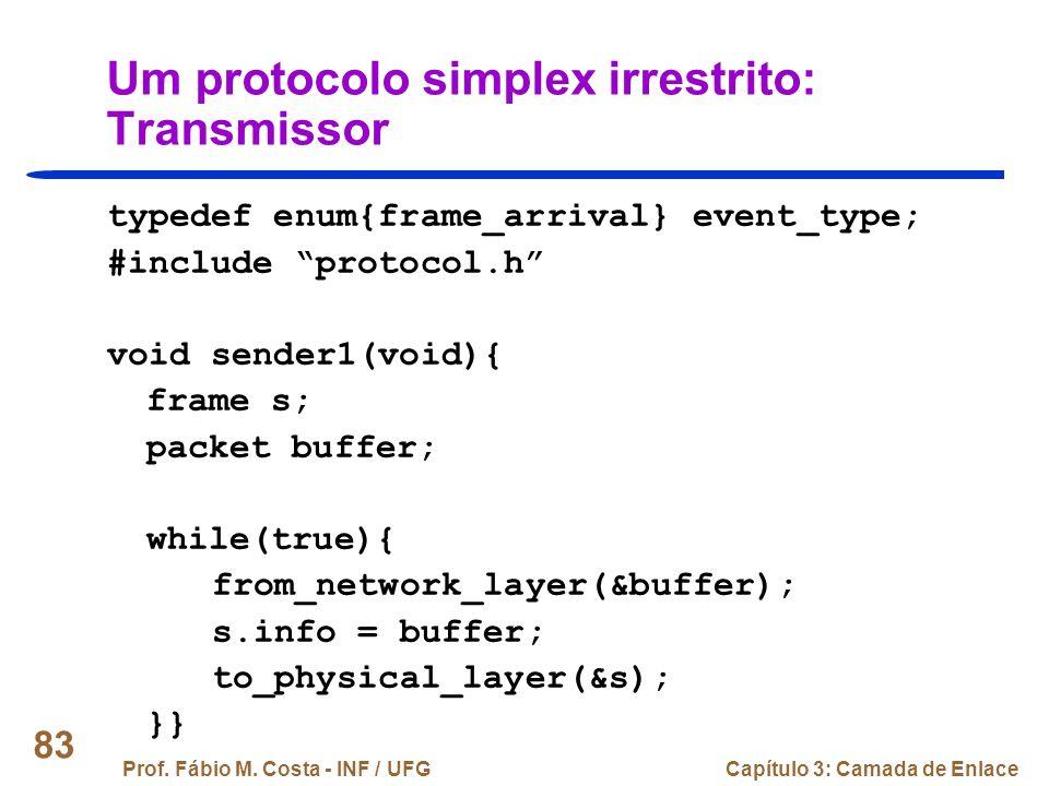 Um protocolo simplex irrestrito: Transmissor