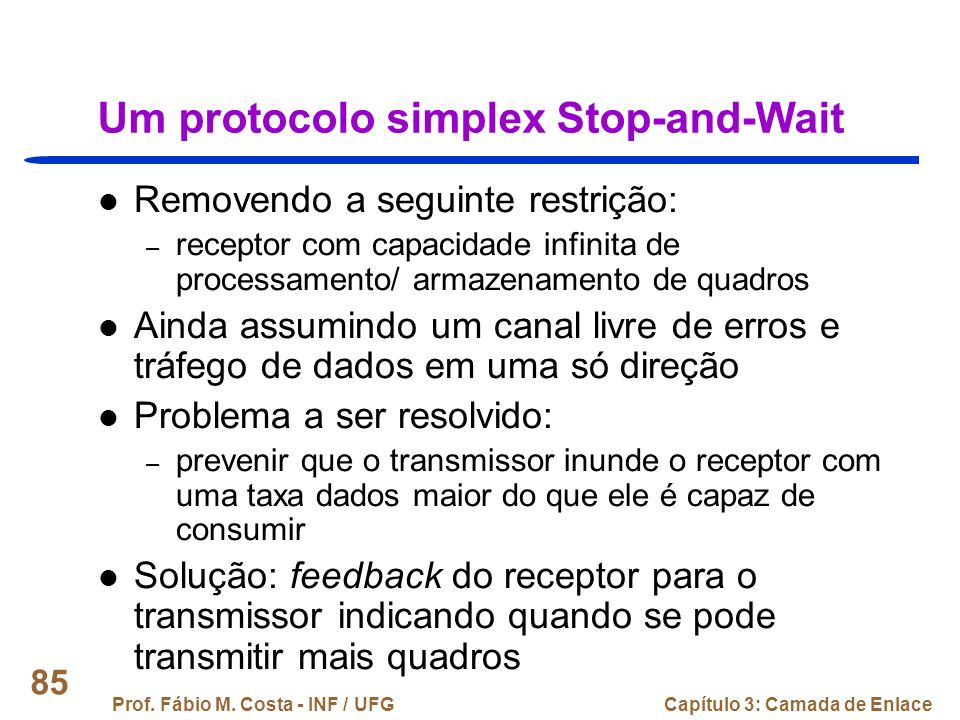 Um protocolo simplex Stop-and-Wait