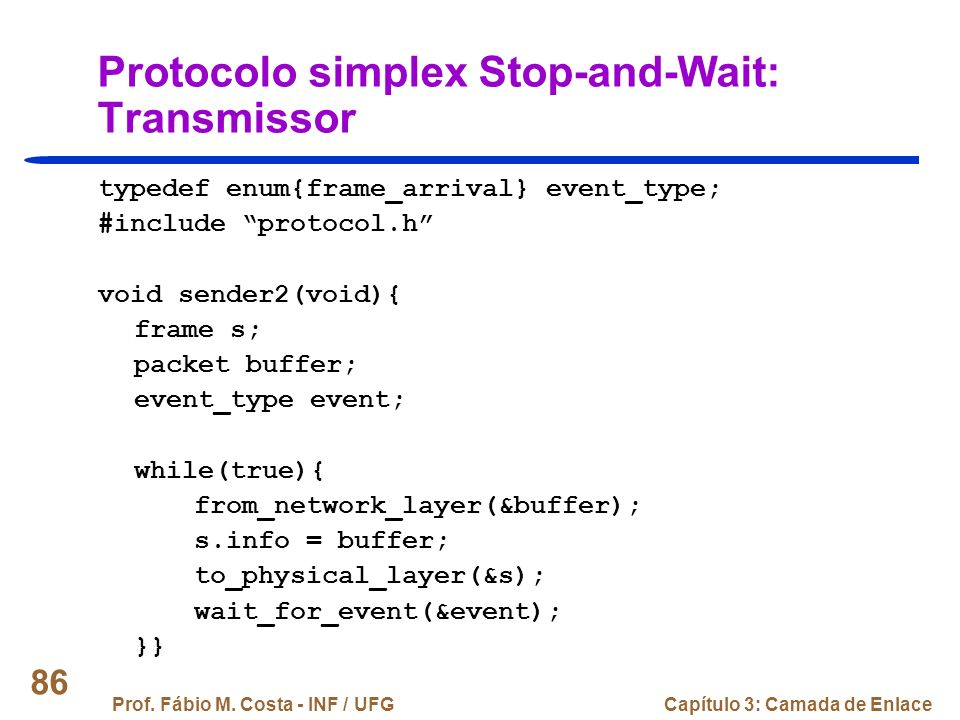Protocolo simplex Stop-and-Wait: Transmissor