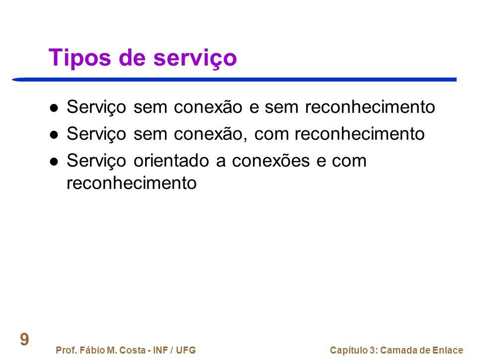 Tipos de serviço Serviço sem conexão e sem reconhecimento