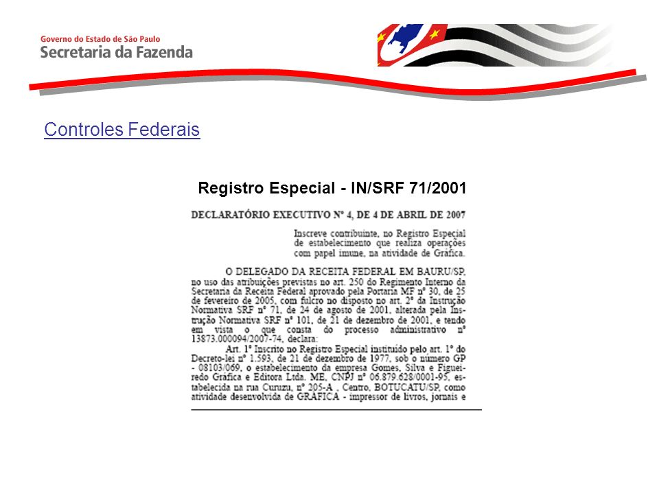 Registro Especial - IN/SRF 71/2001