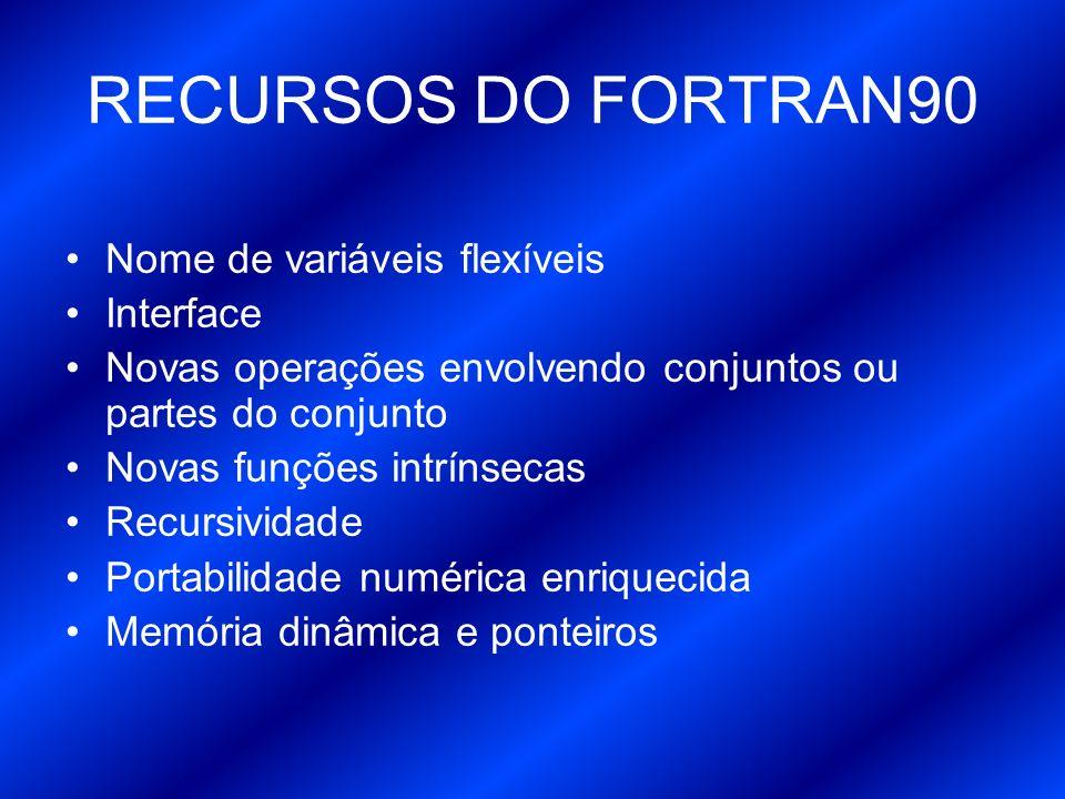 RECURSOS DO FORTRAN90 Nome de variáveis flexíveis Interface