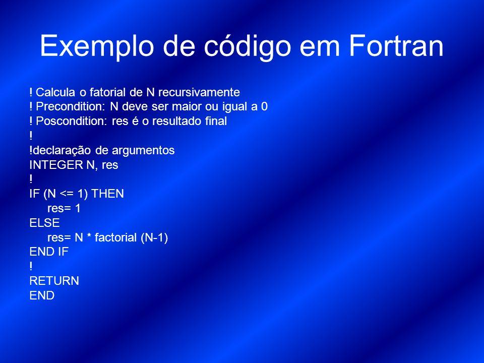 Exemplo de código em Fortran