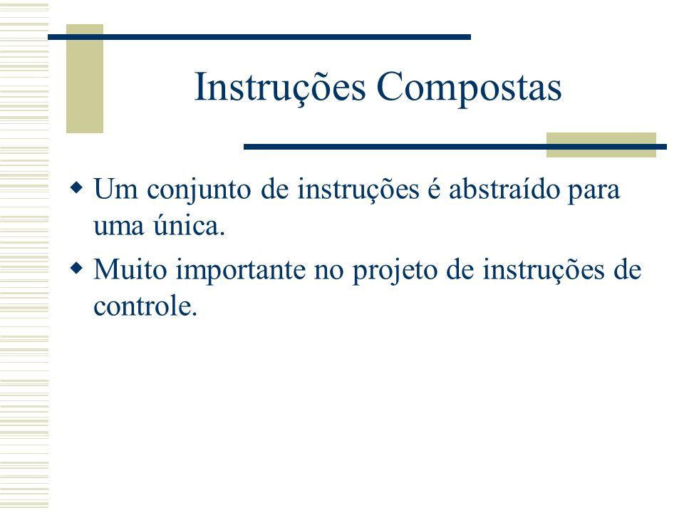 Instruções Compostas Um conjunto de instruções é abstraído para uma única.