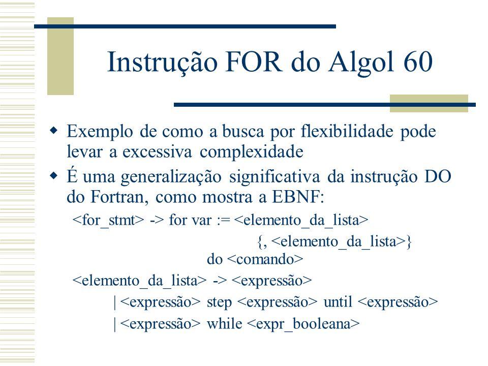Instrução FOR do Algol 60 Exemplo de como a busca por flexibilidade pode levar a excessiva complexidade.