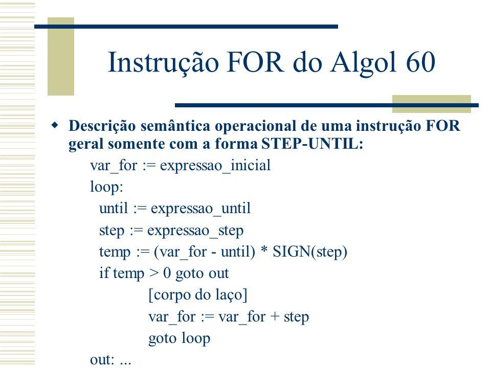 Instrução FOR do Algol 60 Descrição semântica operacional de uma instrução FOR geral somente com a forma STEP-UNTIL: