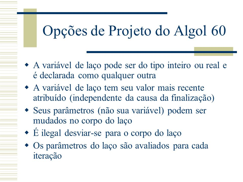 Opções de Projeto do Algol 60