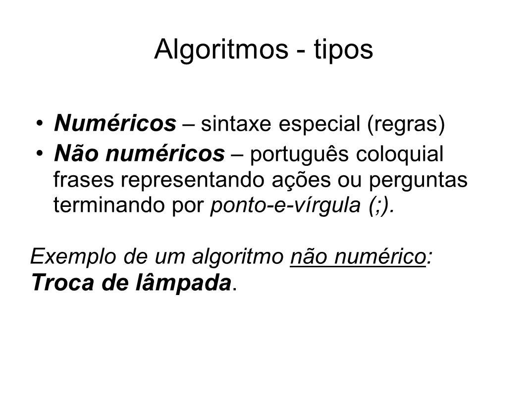 Algoritmos - tipos Numéricos – sintaxe especial (regras)