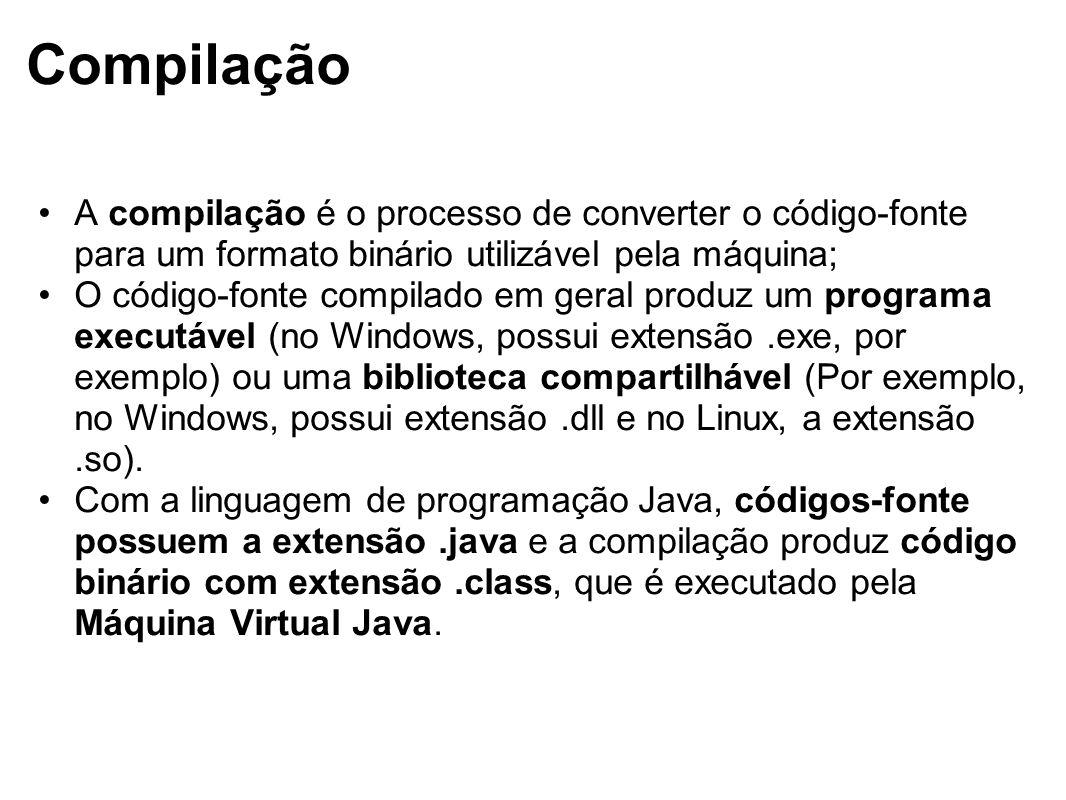 Compilação A compilação é o processo de converter o código-fonte para um formato binário utilizável pela máquina;