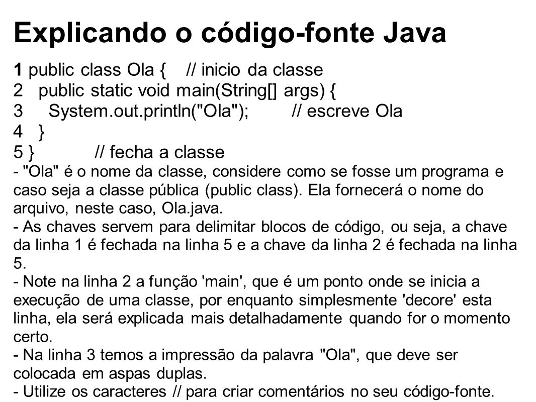 Explicando o código-fonte Java