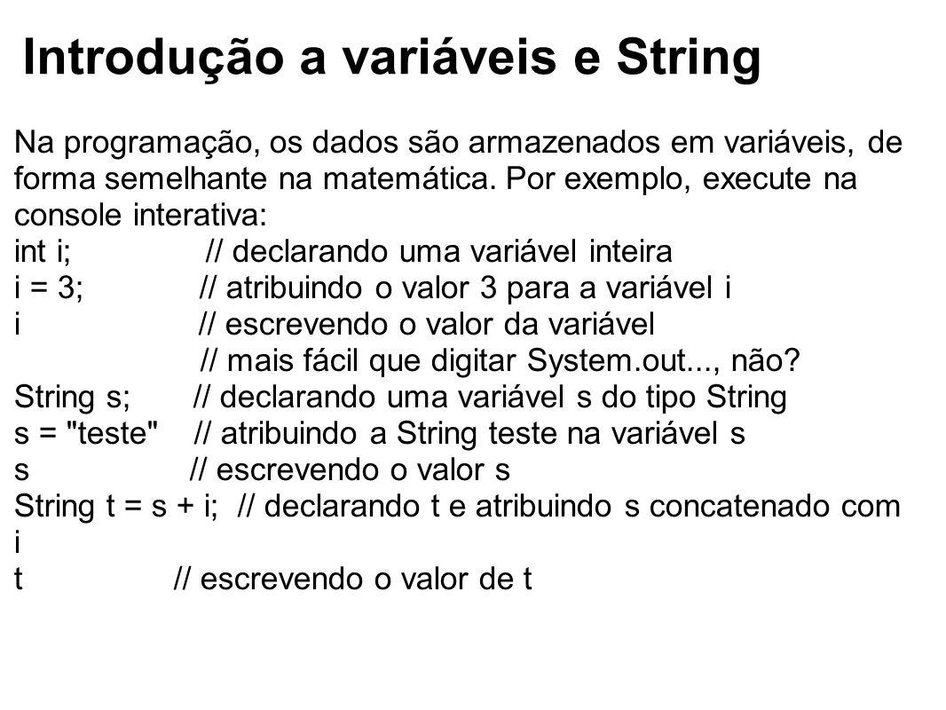 Introdução a variáveis e String