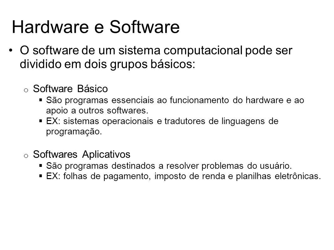 Hardware e Software O software de um sistema computacional pode ser dividido em dois grupos básicos: