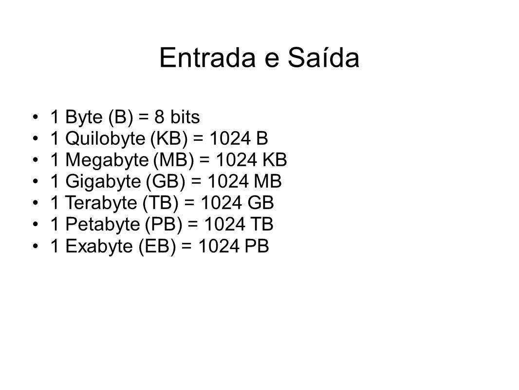Entrada e Saída 1 Byte (B) = 8 bits 1 Quilobyte (KB) = 1024 B
