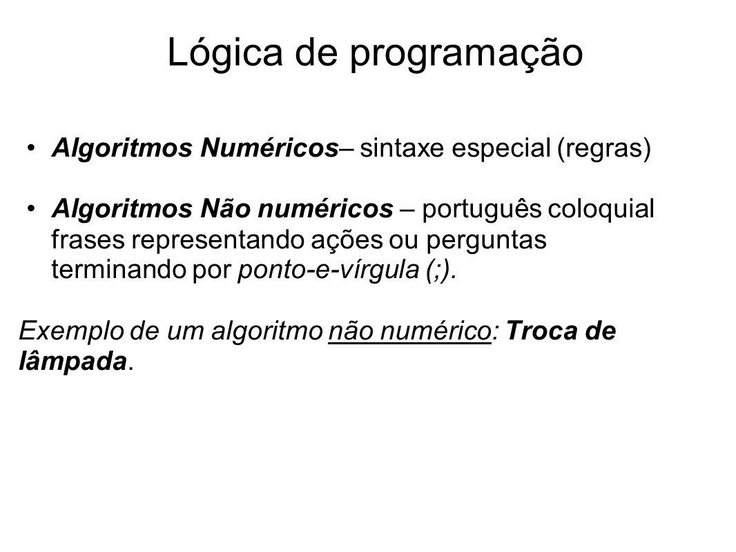 Lógica de programação Algoritmos Numéricos– sintaxe especial (regras)