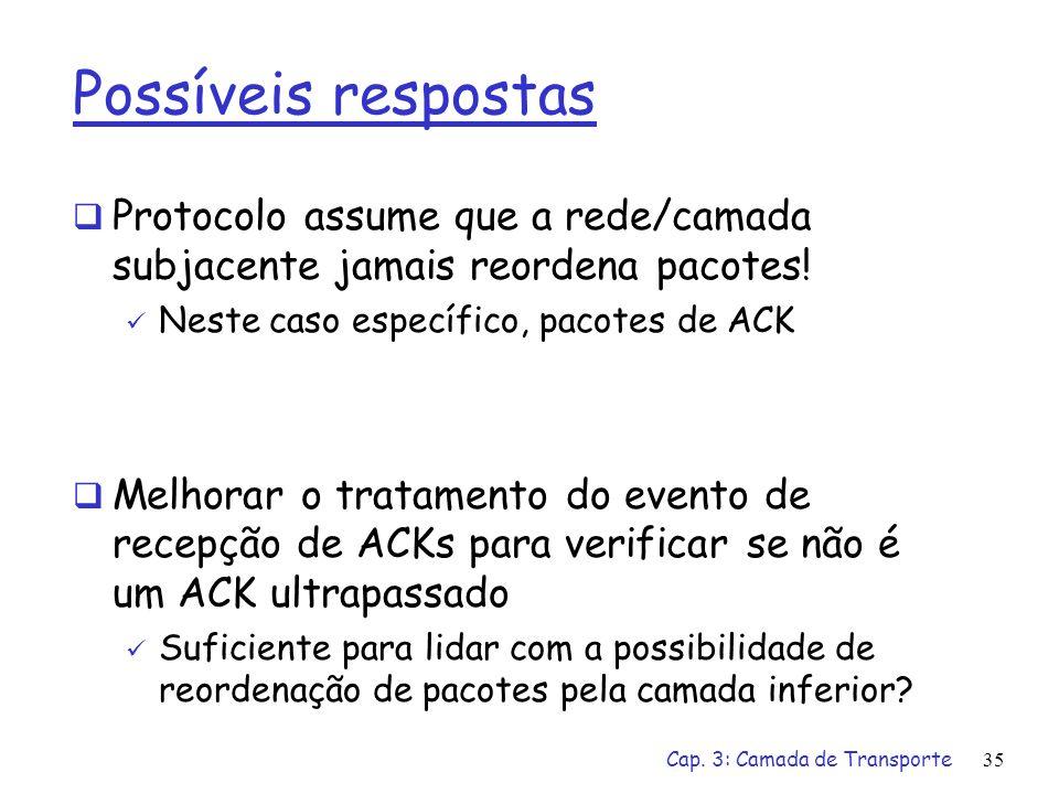 Possíveis respostas Protocolo assume que a rede/camada subjacente jamais reordena pacotes! Neste caso específico, pacotes de ACK.