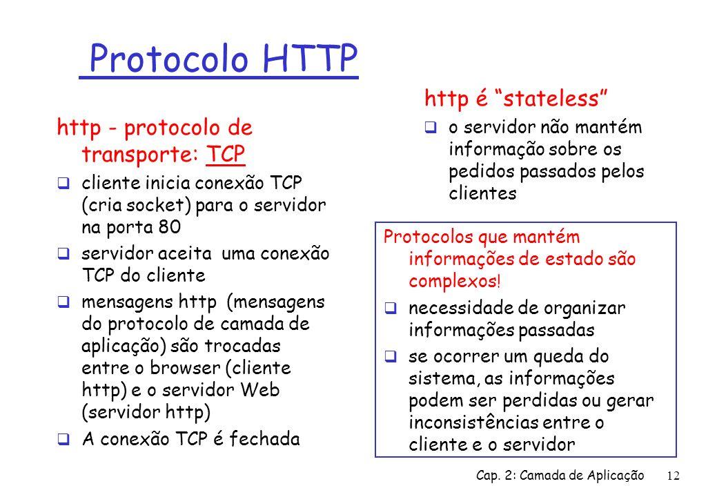 Protocolo HTTP http é stateless http - protocolo de transporte: TCP