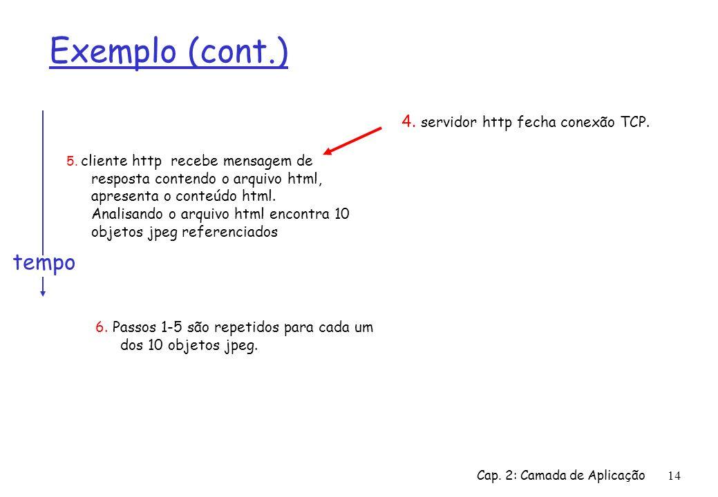 Exemplo (cont.) tempo 4. servidor http fecha conexão TCP.