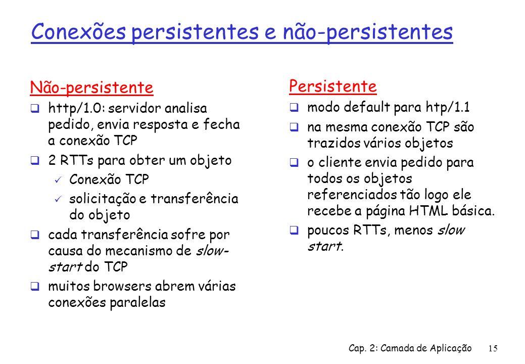 Conexões persistentes e não-persistentes