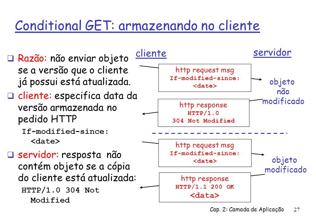 Conditional GET: armazenando no cliente