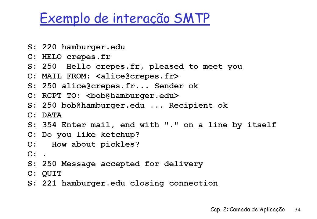 Exemplo de interação SMTP