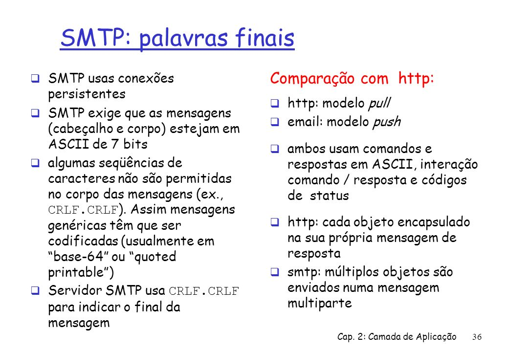 SMTP: palavras finais Comparação com http: