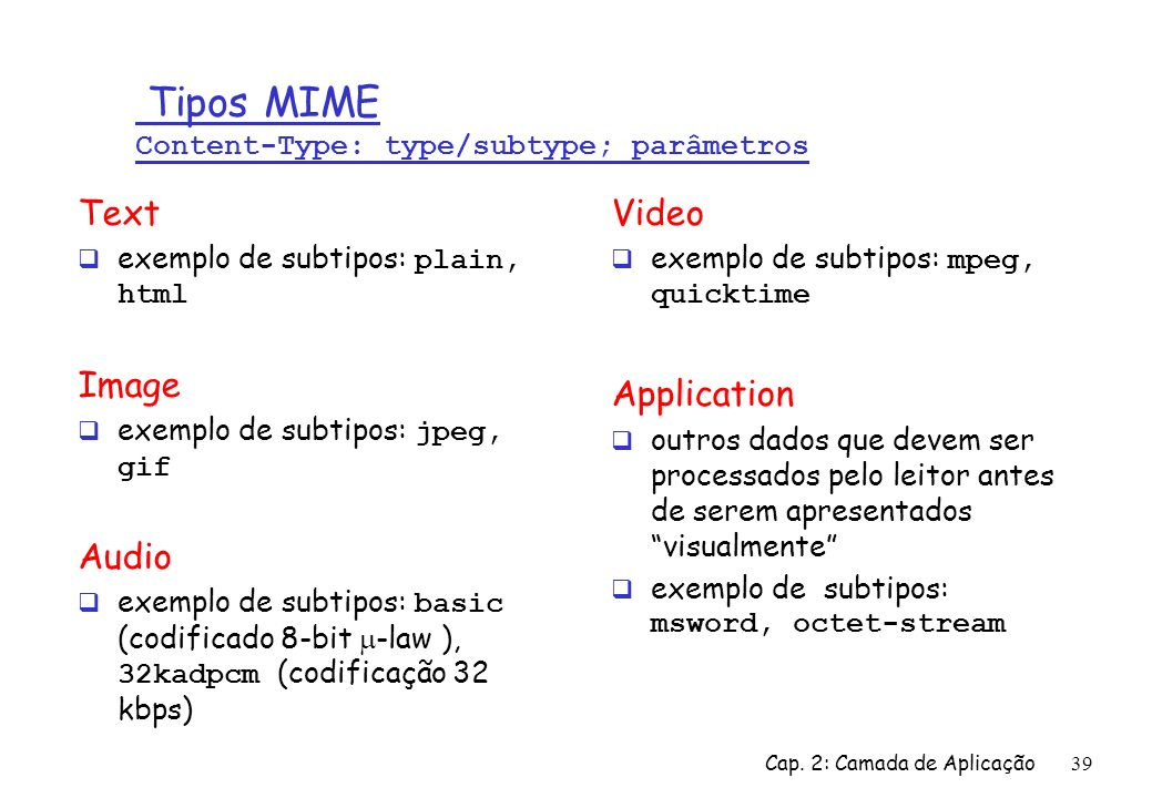 Tipos MIME Content-Type: type/subtype; parâmetros