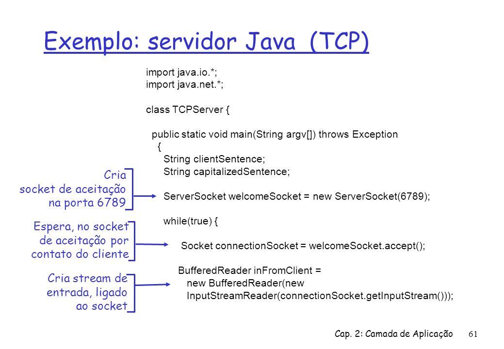 Exemplo: servidor Java (TCP)