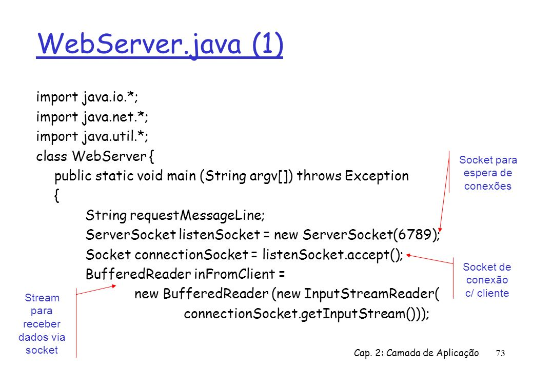 WebServer.java (1) import java.io.*; import java.net.*;