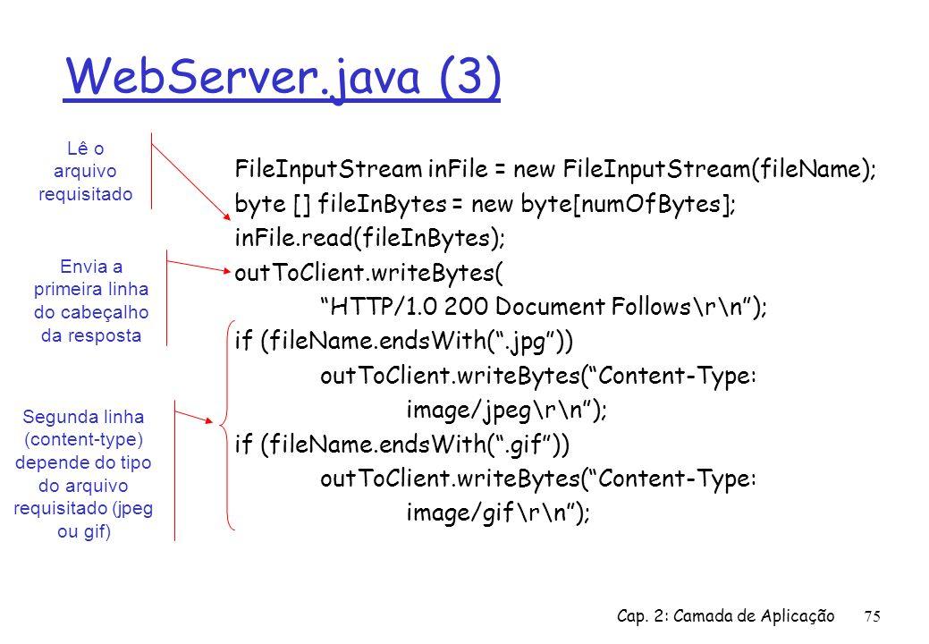 WebServer.java (3)Lê o arquivo requisitado. FileInputStream inFile = new FileInputStream(fileName);
