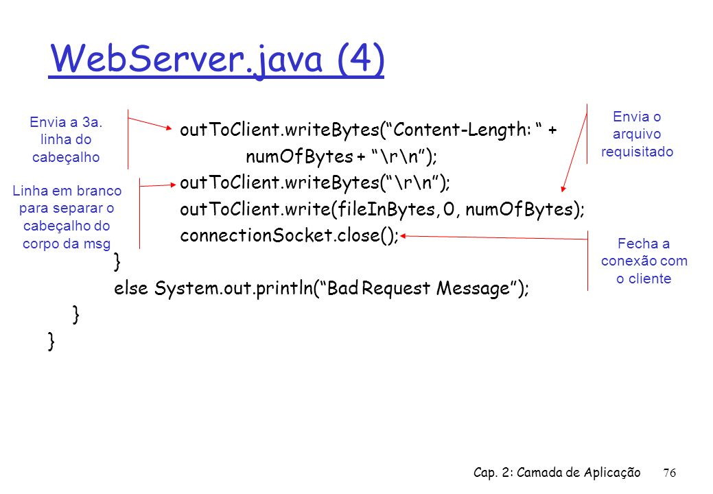 WebServer.java (4) outToClient.writeBytes( Content-Length: +