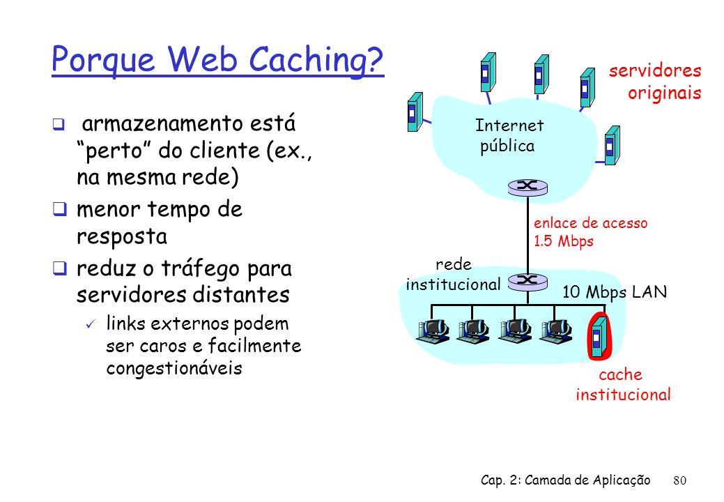Porque Web Caching menor tempo de resposta