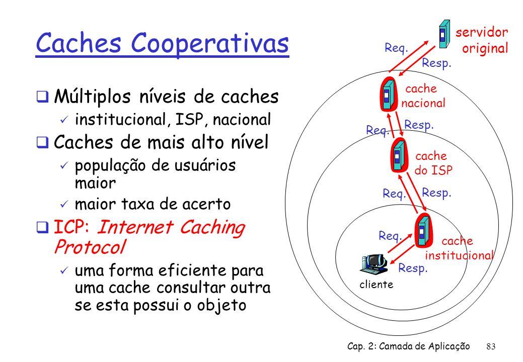 Caches Cooperativas Múltiplos níveis de caches