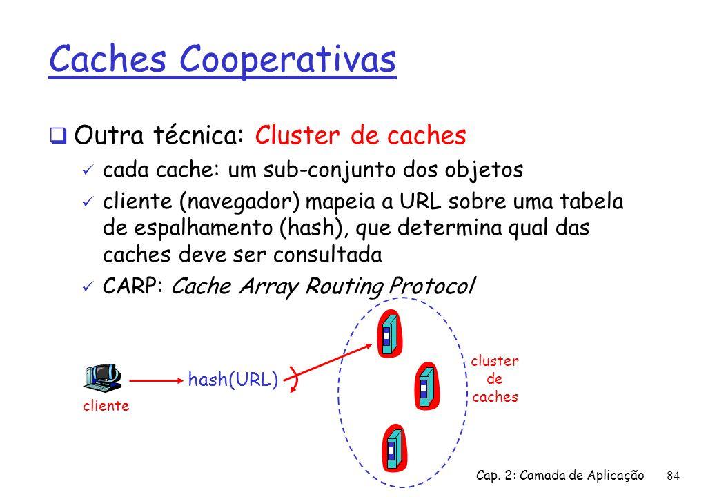 Caches Cooperativas Outra técnica: Cluster de caches