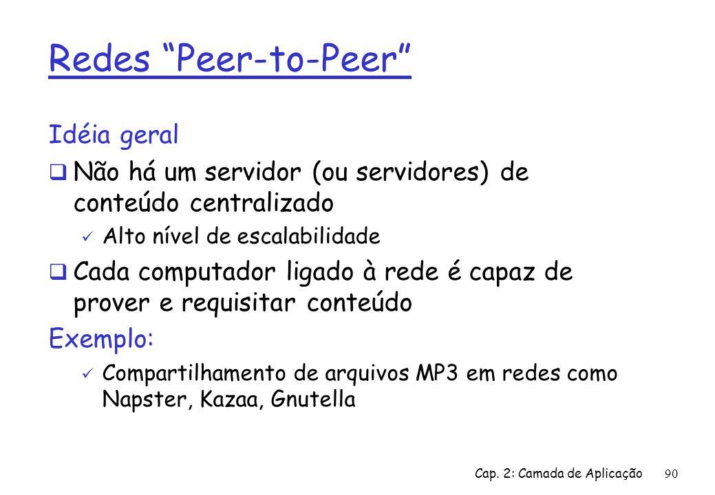 Redes Peer-to-Peer Idéia geral