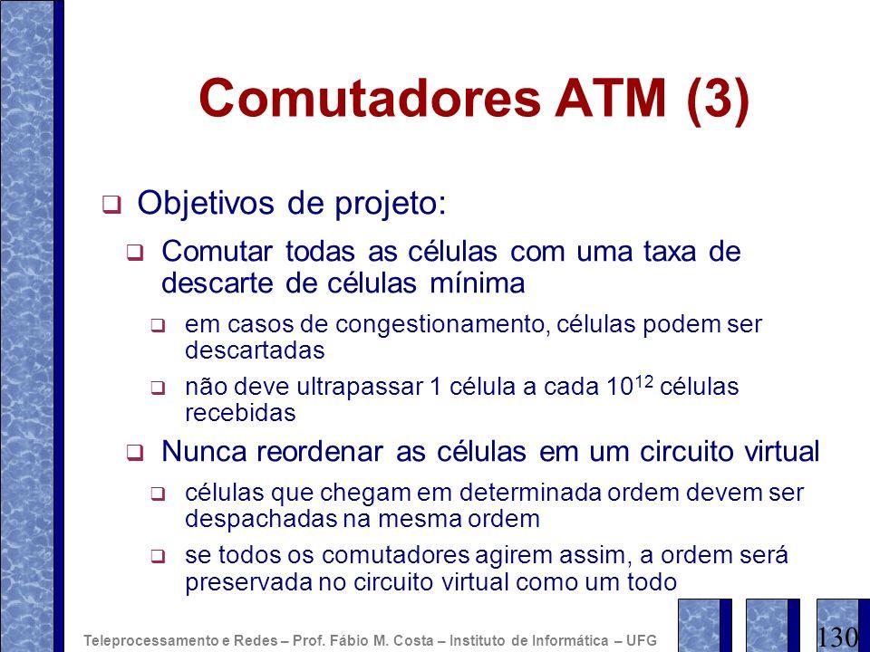 Comutadores ATM (3) Objetivos de projeto: