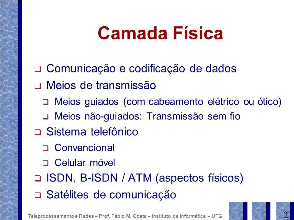 Camada Física Comunicação e codificação de dados Meios de transmissão