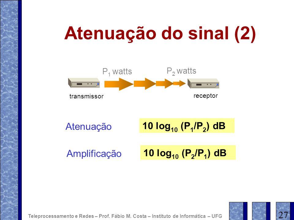Atenuação do sinal (2) Atenuação 10 log10 (P1/P2) dB Amplificação