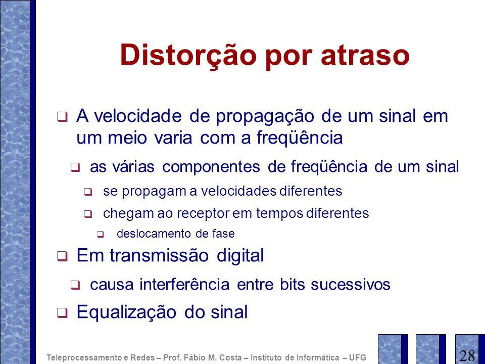 Distorção por atraso A velocidade de propagação de um sinal em um meio varia com a freqüência. as várias componentes de freqüência de um sinal.