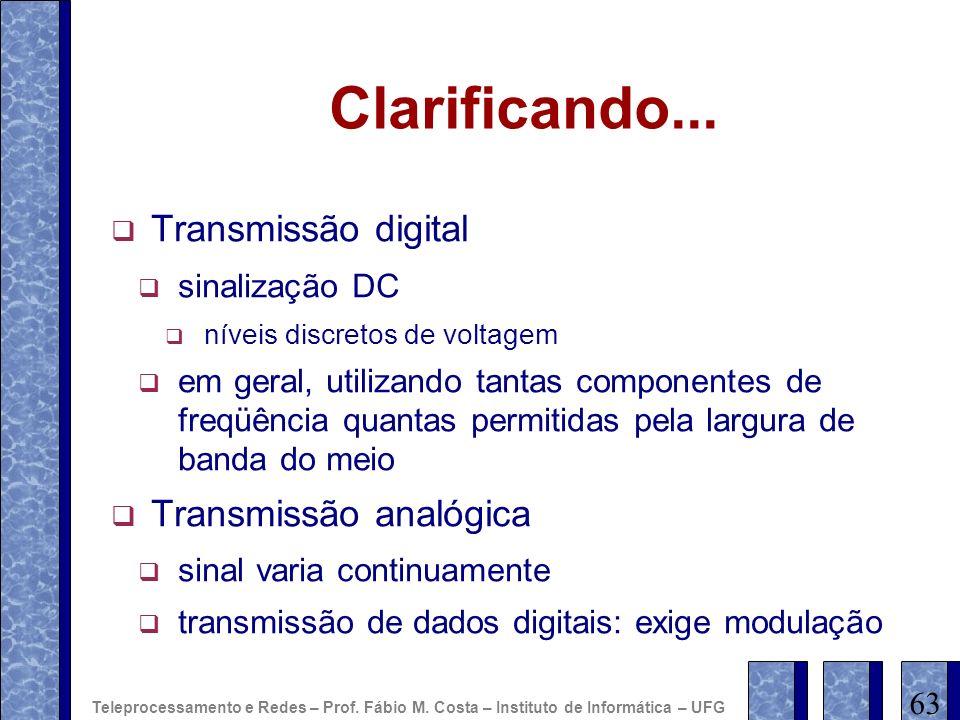 Clarificando... Transmissão digital Transmissão analógica